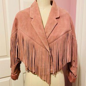 TOPSHOP Suede crop real leather jacket 80's